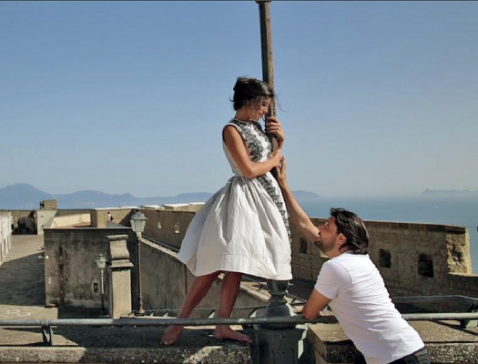 Massimo sings for a beautiful girl, filming with director Marisa Crawford on the Amalfi Coast